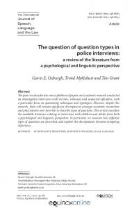 The question of question types in police interviews