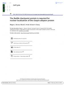 The Rad9A checkpoint protein is required for nuclear ...