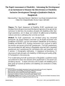 The Rapid Assessment of Disability - Disability, CBR & Inclusive ...