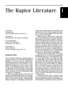The Raptor Literature 1 - Raptor Research Foundation