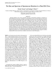 The Rate and Spectrum of Spontaneous Mutations in a ... - Genetics