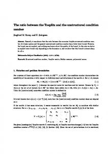 The ratio between the Toeplitz and the unstructured condition number