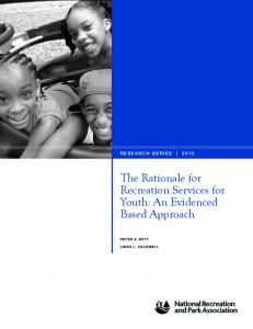 The Rationale for Recreation Services for Youth - National Recreation