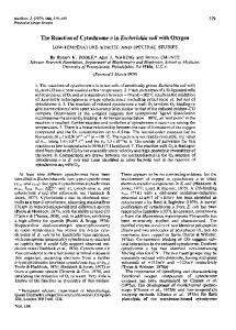 The Reaction of Cytochrome o in Escherichia coli with ... - Europe PMC