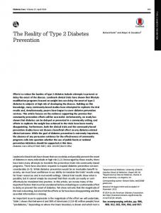 The Reality of Type 2 Diabetes Prevention - Diabetes Care - American ...