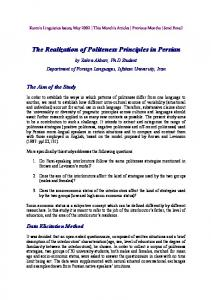 The Realization of Politeness Principles in Persian - CiteSeerX