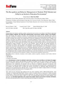 The Recognition and Behavior Management of ...