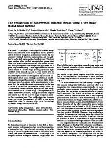 The recognition of handwritten numeral strings using a ... - Springer Link