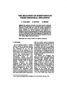 the recovery of streptomycin from industrial effluents