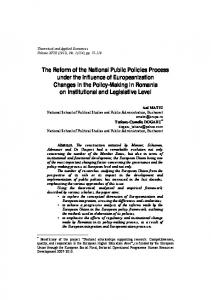 The Reform of the National Public Policies Process under the