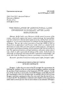 the regulation of agricultural land ownership in hungary after land ...