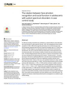 The relation between face-emotion recognition and social ... - PLOS
