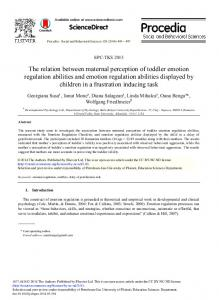 The Relation between Maternal Perception of Toddler ...