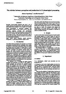 The Relation Between Perception and Production in L2 Phonological ...