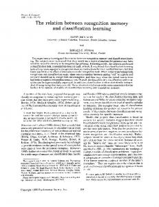 The relation between recognition memory and ... - CiteSeerX