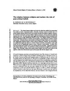 The relation between religion and racism - Bart Duriez