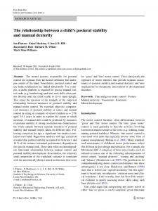 The relationship between a child's postural stability
