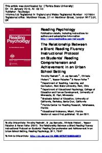 The Relationship Between a Silent Reading Fluency