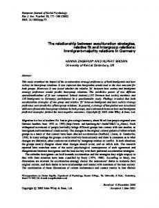 The relationship between acculturation strategies, relative fit and ...
