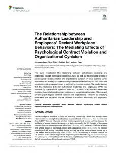 The Relationship Between Authoritarian Leadership and ... - Frontiers