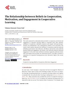 The Relationship between Beliefs in Cooperation, Motivation, and ...