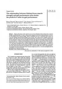 The relationship between bilateral knee muscle strength and ... - J-Stage