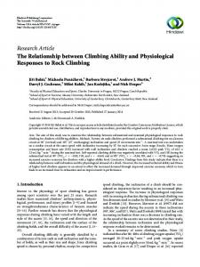 The Relationship between Climbing Ability and Physiological ...