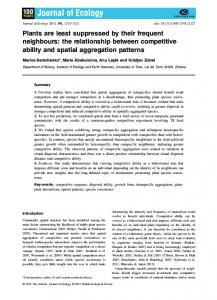 the relationship between competitive ability and spatial ... - BES journal