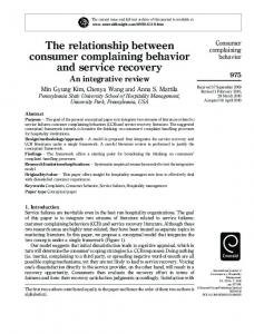 The relationship between consumer complaining ...