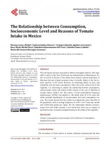 The Relationship between Consumption, Socioeconomic Level and ...