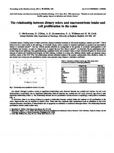 The relationship between dietary micro and macronutrients intake and ...