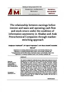 The relationship between earnings before interest and taxes and ...