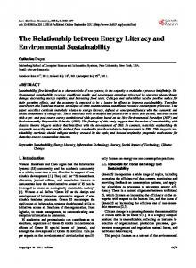 The Relationship between Energy Literacy and Environmental ...