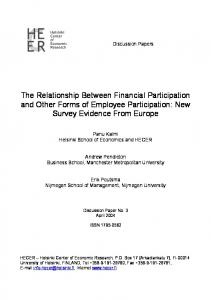 The Relationship Between Financial Participation and ... - CiteSeerX