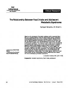 The Relationship Between Food Intake and Adolescent Metabolic ...