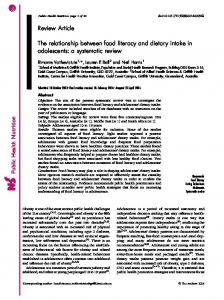 The relationship between food literacy and dietary intake in ...