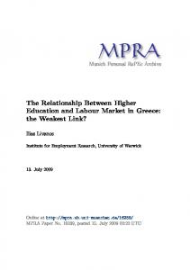 The Relationship Between Higher Education and Labour Market in ...