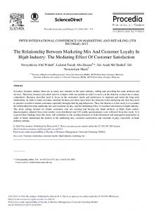The Relationship Between Marketing Mix And ... - ScienceDirect