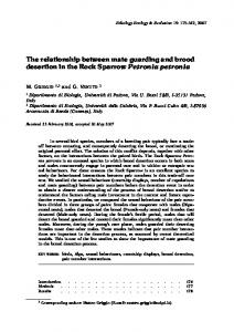The relationship between mate guarding and brood desertion ... - Unipd