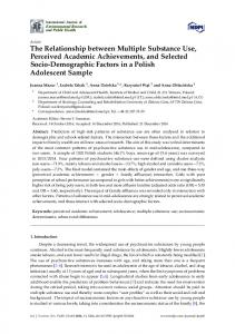 The Relationship between Multiple Substance Use, Perceived ... - MDPI