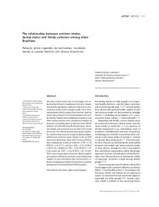 The relationship between nutrient intake, dental status and family ...