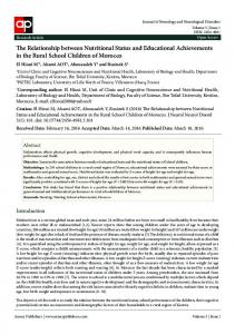 The Relationship between Nutritional Status and ... - Annex Publishers