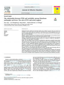 The relationship between PTSD and suicidality among Wenchuan ...
