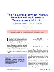 The Relationship between Relative Humidity and the Dewpoint ...
