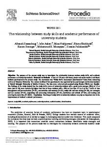 The relationship between study skills and ... - ScienceDirect.com