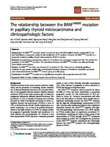 The relationship between the BRAFV600E mutation ... - BioMedSearch