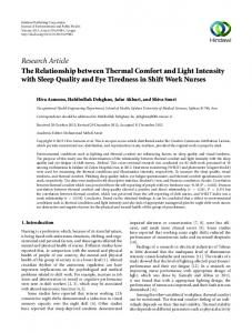 The Relationship between Thermal Comfort and Light Intensity with ...