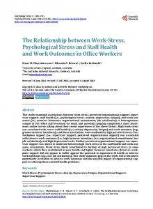The Relationship between Work-Stress, Psychological Stress and Staff ...