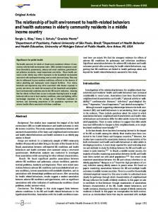 The relationship of built environment to health-related behaviors and ...