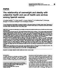 The relationship of overweight and obesity with subjective health and ...